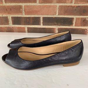 Like new Talbots leather peep toe flats
